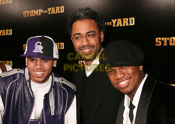"CHRIS BROWN, SYLVIAN WHITE & NE-YO.""Stomp The Yard"" Los Angeles Premiere at Arclight Cinemas, Hollywood, California, USA, 8 January 2007..half length.CAP/ADM/BP.©Byron Purvis/AdMedia/Capital Pictures."