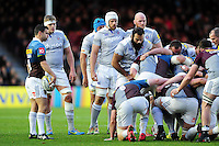 The Bath Rugby forwards pack down for a scrum. Aviva Premiership match, between Harlequins and Bath Rugby on November 27, 2016 at the Twickenham Stoop in London, England. Photo by: Patrick Khachfe / Onside Images