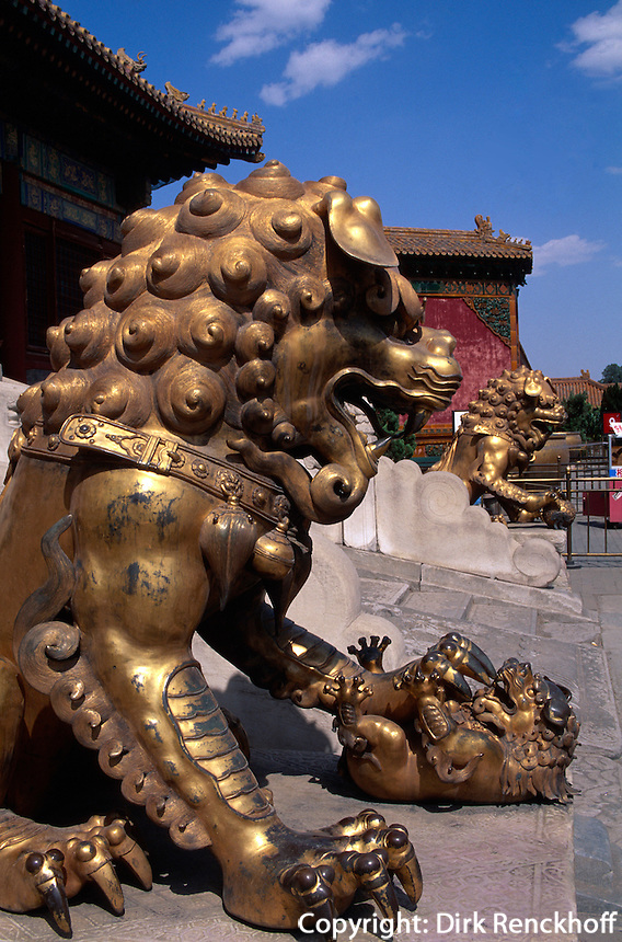 Löwe vor Tor der himmlischen Reinheit, Kaiserpalast (Gugong, Verbotene Stadt), Peking, China, Unesco-Weltkulturerbe