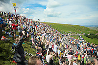 massive (and enthusiastic) crowds up Holme Moss Hill (521m/4.7km/7%)<br /> <br /> 2014 Tour de France<br /> stage 2: York-Sheffield (201km)