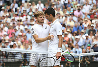 Novak Djokovic (SRB) and David Goffin (BEL) after their Gentleman's Singles Quarter Final match<br /> <br /> Photographer Rob Newell/CameraSport<br /> <br /> Wimbledon Lawn Tennis Championships - Day 9 - Wednesday 10th July 2019 -  All England Lawn Tennis and Croquet Club - Wimbledon - London - England<br /> <br /> World Copyright © 2019 CameraSport. All rights reserved. 43 Linden Ave. Countesthorpe. Leicester. England. LE8 5PG - Tel: +44 (0) 116 277 4147 - admin@camerasport.com - www.camerasport.com