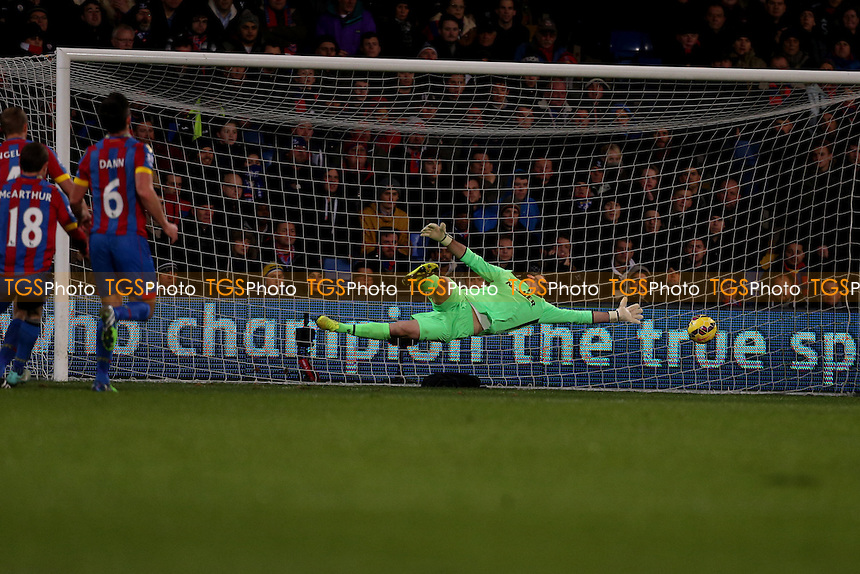 Christian Bentekes shot glides past Julian Speroni of Crystal Palace - Crystal Palace vs Aston Villa - Barclays Premier League Football at Selhurst Park, London - 02/12/14 - MANDATORY CREDIT: Simon Roe/TGSPHOTO - Self billing applies where appropriate - contact@tgsphoto.co.uk - NO UNPAID USE