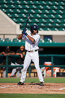 Detroit Tigers Derek Hill (31) at bat during a Florida Instructional League game against the Pittsburgh Pirates on October 6, 2018 at Joker Marchant Stadium in Lakeland, Florida.  (Mike Janes/Four Seam Images)