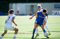 Seattle, WA - Sunday, May 01, 2016: Seattle Reign FC midfielder Keelin Winters (11) and FC Kansas City midfielder Jen Buczkowski (6) during a National Women's Soccer League (NWSL) match at Memorial Stadium.