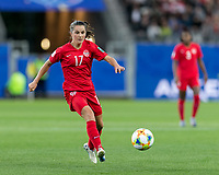 GRENOBLE, FRANCE - JUNE 15: Jessie Fleming #17 of the Canadian National Team passes the ball during a game between New Zealand and Canada at Stade des Alpes on June 15, 2019 in Grenoble, France.