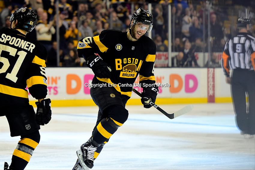 February 11, 2017: Boston Bruins defenseman Colin Miller (6) celebrates a third period goal during the National Hockey League game between the Vancouver Canucks and the Boston Bruins held at TD Garden, in Boston, Mass. Boston defeats Vancouver 4-3 in regulation time. Eric Canha/CSM
