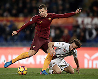 Calcio, Serie A: Roma, stadio Olimpico, 19 febbraio 2017.<br /> Roma&rsquo;s Edin Dzeko (l) in action with Torino's Emiliano Moretti (r) during the Italian Serie A football match between As Roma and Torino at Rome's Olympic stadium, on February 19, 2017.<br /> UPDATE IMAGES PRESS/Isabella Bonotto