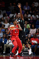 Washington, DC - August 25, 2019: New York Liberty center Tina Charles (31) plays defense against Washington Mystics forward LaToya Sanders (30) during first half action of game between the New York Liberty and the Washington Mystics at the Entertainment and Sports Arena in Washington, DC. The Mystics defeated New York 101-72. (Photo by Phil Peters/Media Images International)