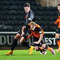 Dundee Utd's Gary Mackay-Steven is fouled by Killie's Robbie Muirhead.