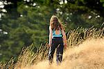 Orcas Island, Moran State Park, WA. Young girl exploring.