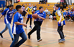 TORRINGTON,  CT-031919JS03- Torrington's Alex Marrero drives to the basket as the middle school's unified basketball team took on Avon Middle School Tuesday at Torrington Middle School. It was the first home game for Torrington. <br /> Jim Shannon Republican American