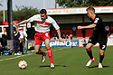 James Dunne of Stevenage takes on Max Clayton of Crewe. Stevenage v Crewe Alexandra - npower League 1 -  Lamex Stadium, Stevenage - 15th September, 2012. © Kevin Coleman 2012.