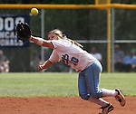 Centennial's Bailie Nelson reaches for a hit against Coronado during the state championship softball game at the University of Nevada, Reno, in Reno, Nev., on Saturday, May 20, 2012. Centennial defeated Coronado 13-3 and 11-0 to win the 4A title..Photo by Cathleen Allison