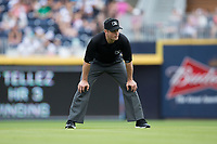 Second base umpire Blake Carnahan works the International League game between the Buffalo Bisons and the Durham Bulls at Durham Bulls Athletic Park on April 30, 2017 in Durham, North Carolina.  The Bisons defeated the Bulls 6-1.  (Brian Westerholt/Four Seam Images)