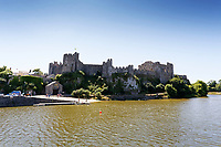 "Pictured: General view of the pond by Pembroke Castle, west Wales, UK. Sunday 08 July 2018<br /> Re: A vicious killer swan is prowling around Pembroke, determined to see off any threat to his territory by ruthlessly drowning his victims.<br /> So far, he has killed 10 other swans, though many more have been saved from his attacks.<br /> Dubbed by locals ""Mr Nasty""  lives on the Castle Pond by Pembroke Castle. <br /> Bird sanctuary worker Maria Evans says she has watched him at work, drowning other swans, breaking their feet or pushing them over a sluice.<br /> In 2010, another killer swan dubbed ""Hannibal"" had his wings clipped after attacking other swans in the same pond."
