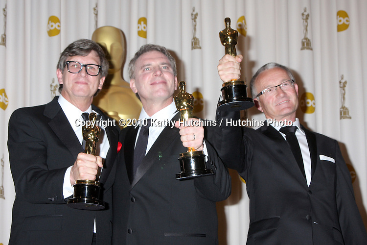 Art directors (L-R) Rick Carter, Robert Stromberg and Kim Sinclair, winners of Best Art Direction for 'Avatar,.in the Press Room of the 82nd Academy Awards.Kodak Theater.Los Angeles, CA.March 7, 2010.©2010 Kathy Hutchins / Hutchins Photo....
