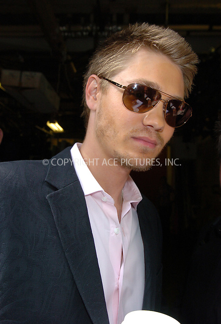 WWW.ACEPIXS.COM ** ** ** ....NEW YORK, MAY 4, 2005....Chad Michael Murray exits Live with Regis and Kelly.....Please byline: Philip Vaughan -- ACE PICTURES... *** ***  ..Ace Pictures, Inc:  ..Craig Ashby (212) 243-8787..e-mail: picturedesk@acepixs.com..web: http://www.acepixs.com
