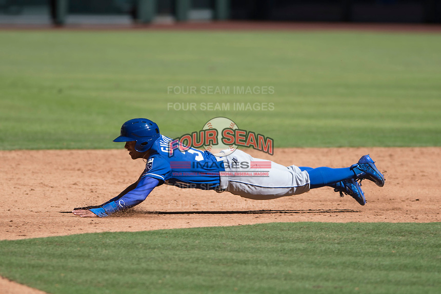 Kansas City Royals outfielder Michael Gigliotti (31) slides into second base during an Instructional League game against the Arizona Diamondbacks at Chase Field on October 14, 2017 in Scottsdale, Arizona. (Zachary Lucy/Four Seam Images)