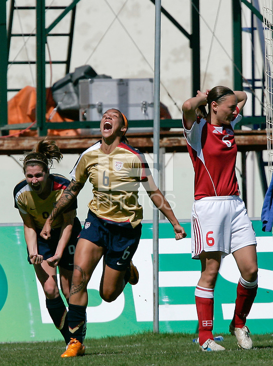 USA's Natasha Kai celebrates after scoring a goal. The United States defeated Denmark 2-1 during the finals of the Algarve Cup 2008 at Municipal Stadium in Vila Real de San Antonio, Portugal on March 12, 2008. Paulo Cordeiro/isiphotos.com