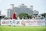 Boris Becker tees off the 10th hole during the World Celebrity Pro-Am 2016 Mission Hills China Golf Tournament on 22 October 2016, in Haikou, China. Photo by Marcio Machado / Power Sport Images