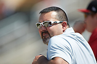 Kannapolis Intimidators assistant trainer Allan Chase watches the action from the dugout during the game against the Delmarva Shorebirds at Kannapolis Intimidators Stadium on May 19, 2019 in Kannapolis, North Carolina. The Shorebirds defeated the Intimidators 9-3. (Brian Westerholt/Four Seam Images)