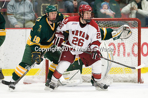 Louke Oakley (Clarkson - 19), Luke Greiner (Harvard - 26) - The Harvard University Crimson defeated the visiting Clarkson University Golden Knights 3-2 on Harvard's senior night on Saturday, February 25, 2012, at Bright Hockey Center in Cambridge, Massachusetts.