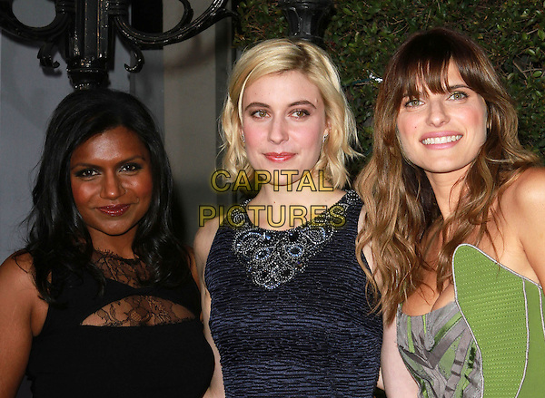 "MINDY KALING, GRETA GERWIG & LAKE BELL.""No Strings Attached"" Los Angeles Premiere held At The Regency Village Theatre, Westwood, CA, USA..January 11th, 2010.half length black dress blue green print.CAP/ADM/KB.©Kevan Brooks/AdMedia/Capital Pictures."