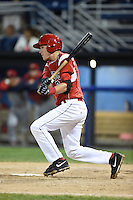 Batavia Muckdogs outfielder Ryan Aper (3) at bat during the second game of a doubleheader against the Williamsport Crosscutters on July 29, 2014 at Dwyer Stadium in Batavia, New York.  Batavia defeated Williamsport 1-0.  (Mike Janes/Four Seam Images)