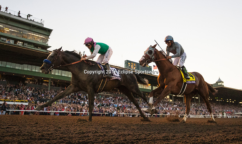 ARCADIA, CA - NOVEMBER 05: Arrogate #10, ridden by Mike Smith, defeats California Chrome # 4, ridden by Victor Espinoza to win the Breeders' Cup Classic during day two of the 2016 Breeders' Cup World Championships at Santa Anita Park on November 5, 2016 in Arcadia, California. (Photo by Alex Evers/Eclipse Sportswire/Breeders Cup)