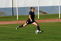 Cat Whitehill strikes the ball. The USWNT defeated Iceland (2-0) at Vila Real Sto. Antonio in their opener of the 2010 Algarve Cup on February 24, 2010.