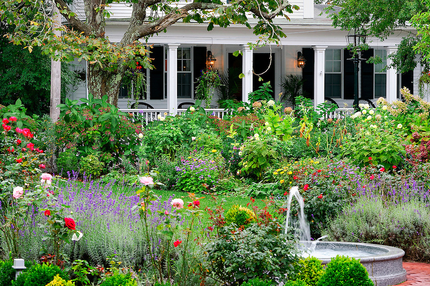 Lovely home and gardens, Edgartown, Martha's Vineyard, Massachusetts, USA