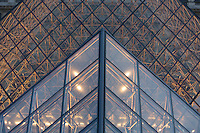 Pyramide de Louvre, detail, the Pyramid entry, Louvre Museum, (architect = I M Pei) Paris, France