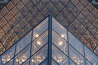 Pyramide de Louvre, detail, the Pyramid entry, Louvre Museum, (architect = I M Pei) Paris, France