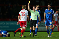 Alex Samuel of Stevenage is shown a yellow card during Stevenage vs Notts County, Sky Bet EFL League 2 Football at the Lamex Stadium on 11th November 2017