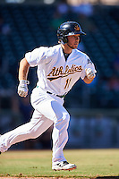 Mesa Solar Sox Max Schrock (11), of the Oakland Athletics organization, during a game against the Scottsdale Scorpions on October 18, 2016 at Sloan Park in Mesa, Arizona.  Mesa defeated Scottsdale 6-3.  (Mike Janes/Four Seam Images)