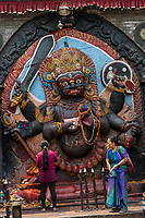 Nepal, Kathmandu. Durbar Square, Hanuman Dhoka, old palace of Malla Kings, damaged during the earthquake. Offering to Kali, Hindu god.