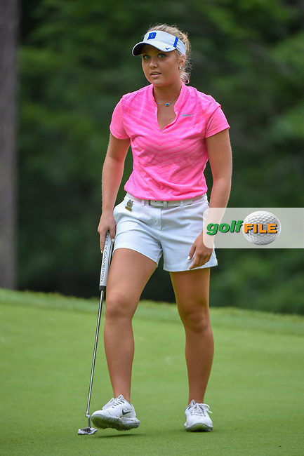 Erica Shepherd (a) (USA) reacts to barely missing her putt on 13 during round 1 of the U.S. Women's Open Championship, Shoal Creek Country Club, at Birmingham, Alabama, USA. 5/31/2018.<br /> Picture: Golffile | Ken Murray<br /> <br /> All photo usage must carry mandatory copyright credit (© Golffile | Ken Murray)