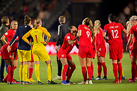CARSON, CA - FEBRUARY 07: The Women's national team of Canada celebrates their victory over Costa Rica during a game between Canada and Costa Rica at Dignity Health Sports Complex on February 07, 2020 in Carson, California.