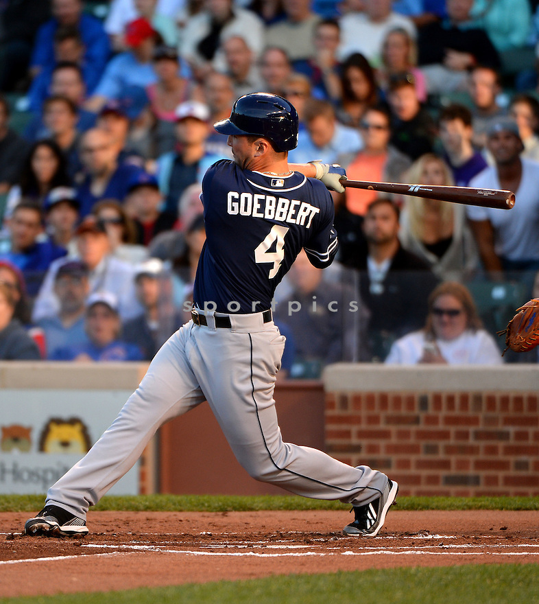 San Diego Padres Jake Goebbert (4) during a game against the Chicago Cubs on July 24, 2014 at Wrigley Field in Chicago, IL. The Padres beat the Cubs13-3.