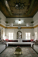 Haci Abdullah Bey Mansion (or Konagi), Savur near Mardin, southeastern Turkey. Showing typical Ottoman interior design and furnishings for a 'selamlik' or sitting room for receiving guests