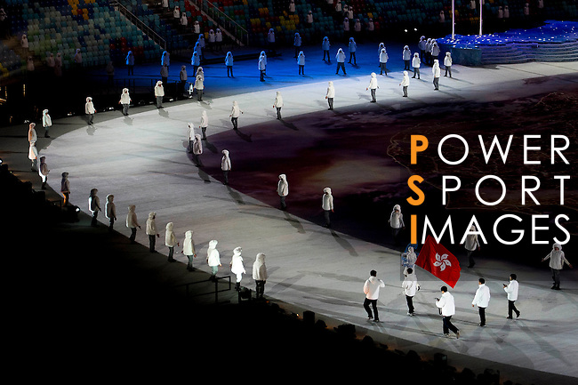 Olympic team of Hong Kong during the parade of nations at the Opening ceremony of the 2014 Sochi Olympic Winter Games at Fisht Olympic Stadium on February 7, 2014 in Sochi, Russia. Photo by Victor Fraile / Power Sport Images