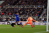 9th December 2017, St James Park, Newcastle upon Tyne, England; EPL Premier League football, Newcastle United versus Leicester City; Jamie Vardy of Leicester City is denied by a great tackle from Ciaran Clark of Newcastle United