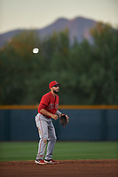 AZL Angels shortstop Jose Guzman (16) during an Arizona League game against the AZL D-backs on July 20, 2019 at Salt River Fields at Talking Stick in Scottsdale, Arizona. The AZL Angels defeated the AZL D-backs 11-4. (Zachary Lucy/Four Seam Images)