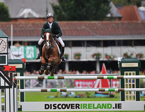 17.08.2012. Dubln, Ireland.  Ireland's Richie Moloney on Ahorn Van De Zuuthoeve in action during the FEI Nations Cup 2012  at the Royal Dublin Society, Dublin, Ireland.
