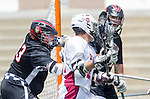 Torrance, CA 05/11/13 - Alex Waller (St Margarets #17) and Matt Edelstein (Harvard Westlake #33) in action during the Harvard Westlake vs St Margarets 2013 Los Angeles / Orange County Championship game.  St Margaret defeated Harvard Westlake 15-8.