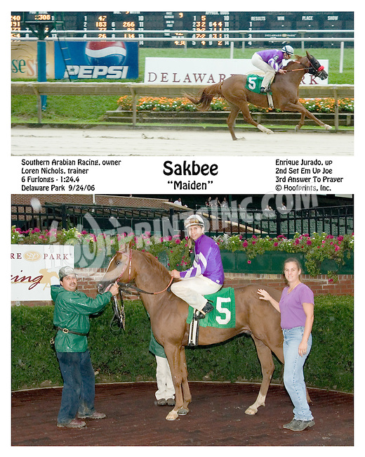Sakbee winning at Delaware Park on 9/24/2006