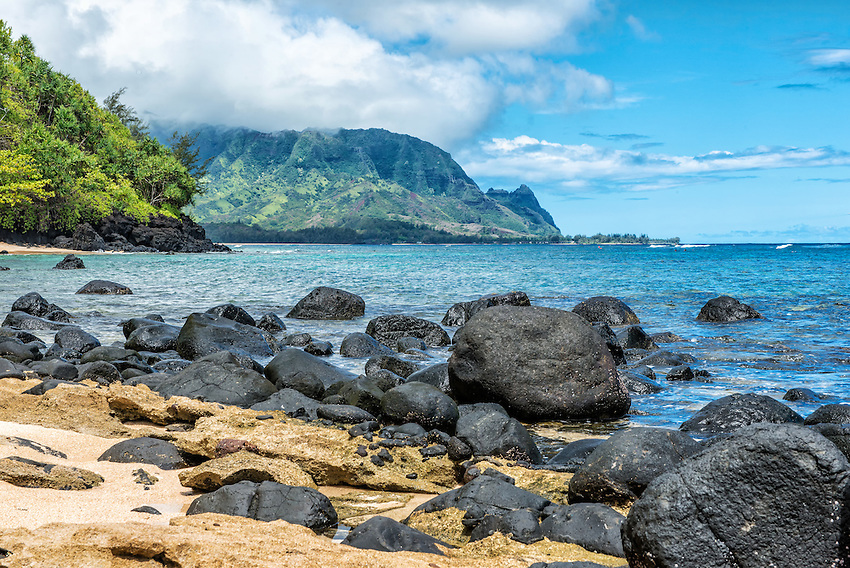 Bali Hai (better known as Mount Makana), on the north shore of Kauai, as viewed from a nearby rocky beach below Pali Ke Kua.