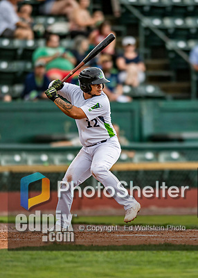 21 July 2019: Vermont Lake Monsters infielder Jordan Diaz in action against the Tri-City ValleyCats at Centennial Field in Burlington, Vermont. The Lake Monsters rallied to defeat the ValleyCats 6-3 in NY Penn League play. Mandatory Credit: Ed Wolfstein Photo *** RAW (NEF) Image File Available ***