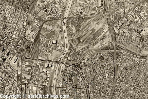 historical aerial photograph Los Angeles, California, 1964
