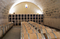 Chateau St Martin de la Garrigue. Languedoc. Barrel cellar. France. Europe.